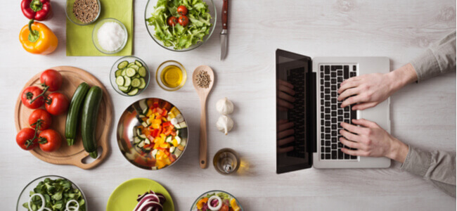Vegetables for salad, Laptop